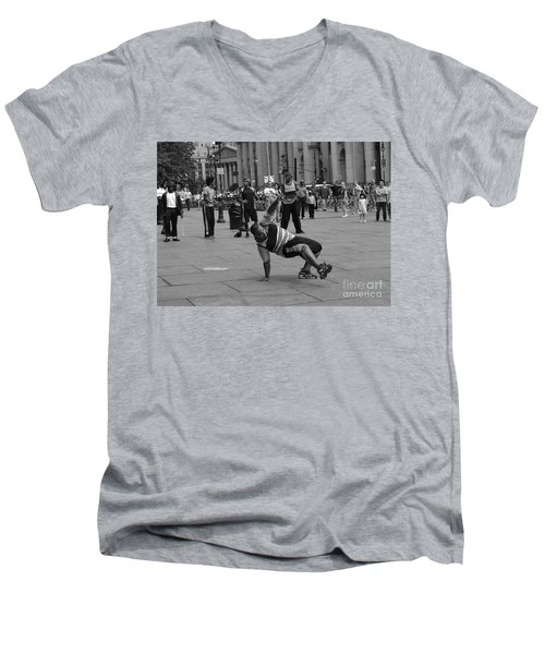 Men's V-Neck T-Shirt featuring the photograph Ny City Street Performer by Angela DeFrias