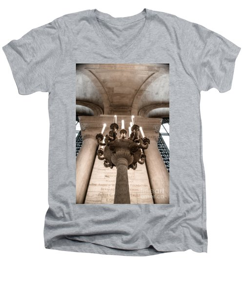 Men's V-Neck T-Shirt featuring the photograph Ny Public Library Candelabra by Angela DeFrias