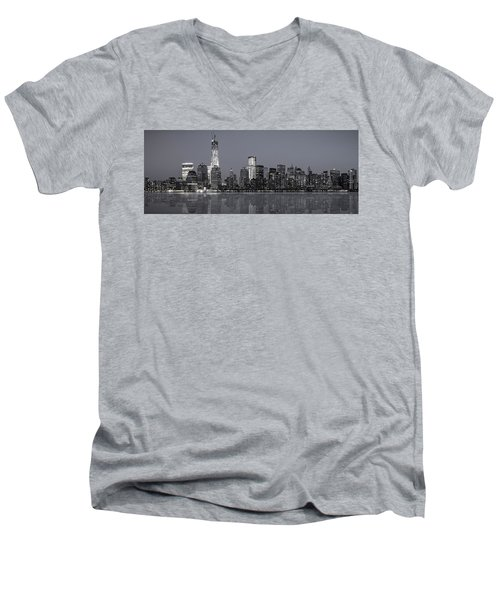 Nyc Skyline Men's V-Neck T-Shirt by Eduard Moldoveanu