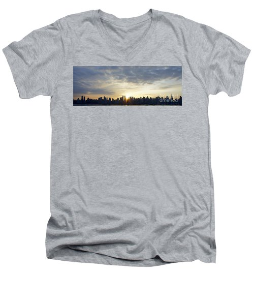 Nyc Sunrise Panorama Men's V-Neck T-Shirt