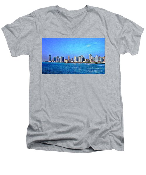 Men's V-Neck T-Shirt featuring the photograph Nyc  The Big Apple  by Judy Palkimas