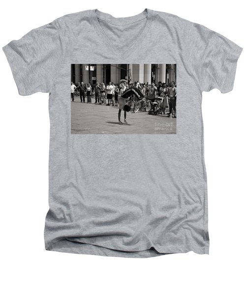 Men's V-Neck T-Shirt featuring the photograph Nycity Street Performer by Angela DeFrias