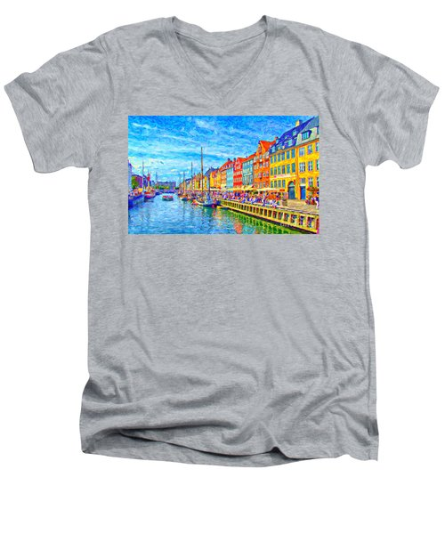 Nyhavn In Denmark Painting Men's V-Neck T-Shirt