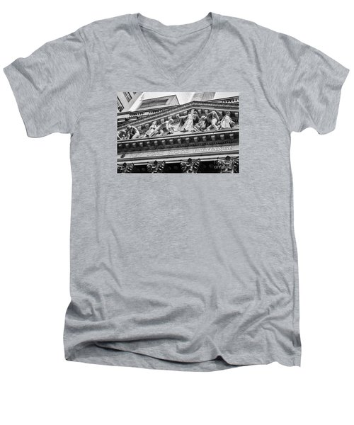 Nyse Men's V-Neck T-Shirt by Jerry Fornarotto