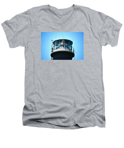 Oak Island Lighthouse Beacon Lights Men's V-Neck T-Shirt by Sandi OReilly
