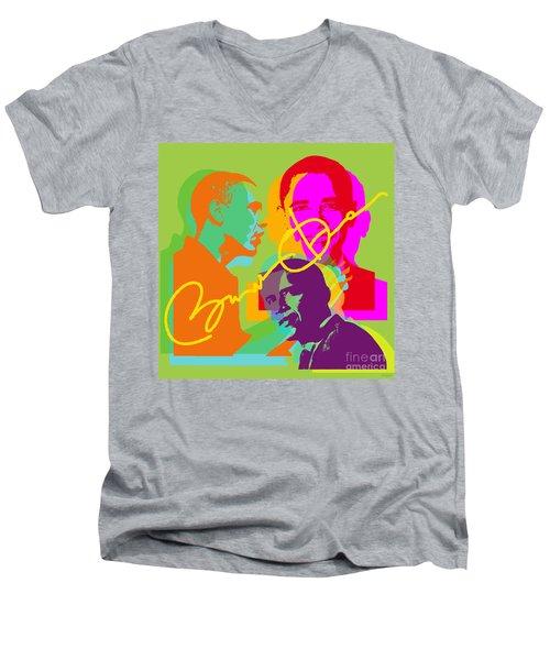 Obama Men's V-Neck T-Shirt by Jean luc Comperat