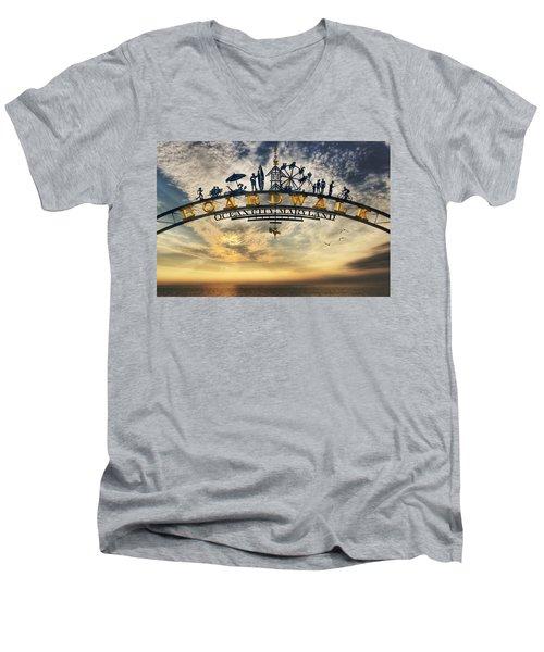 Ocean City Boardwalk Men's V-Neck T-Shirt by Lori Deiter