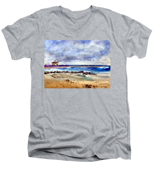 Ocean  Inlet Beach In Boynton Beach Men's V-Neck T-Shirt