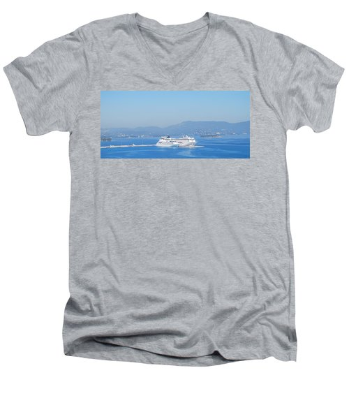 Ocean Liners In Corfu Men's V-Neck T-Shirt