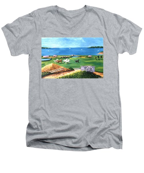Men's V-Neck T-Shirt featuring the painting Ocean Ranch by Lance Headlee