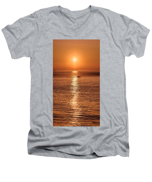 Ocean Sunrise At Montauk Point Men's V-Neck T-Shirt