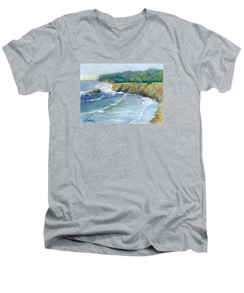Ocean Surf Colorful Original Seascape Painting Men's V-Neck T-Shirt