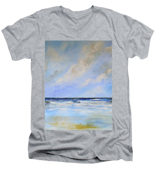 Men's V-Neck T-Shirt featuring the painting Ocean View by Dorothy Maier