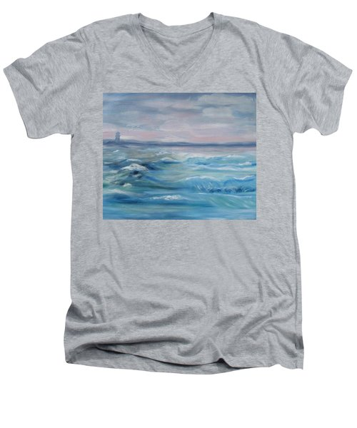 Men's V-Neck T-Shirt featuring the painting Oceans Of Color by Diane Pape