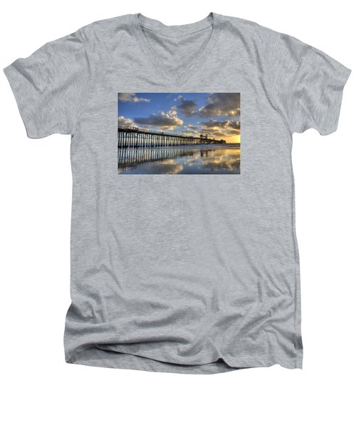 Oceanside Pier Sunset Reflection Men's V-Neck T-Shirt by Peter Tellone
