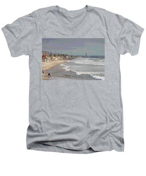 Oceanside South Of Pier Men's V-Neck T-Shirt by Tom Janca
