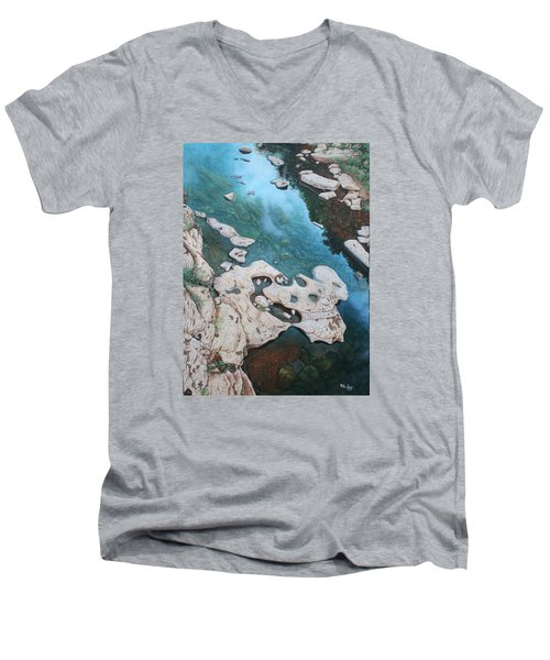 Ocoee River Low Tide Men's V-Neck T-Shirt by Mike Ivey