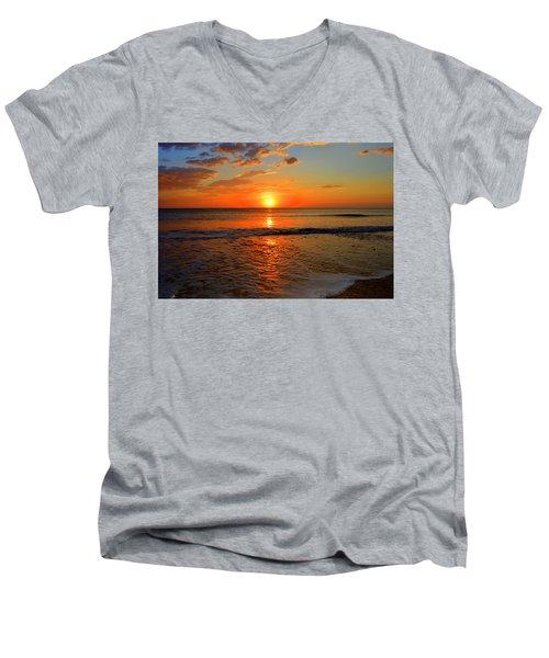 Men's V-Neck T-Shirt featuring the photograph October Beach by Dianne Cowen