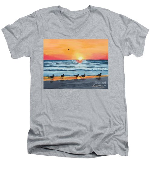 October Sunset On Siesta Key Florida Men's V-Neck T-Shirt