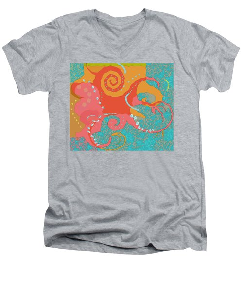 Octopus 1 Men's V-Neck T-Shirt by David Klaboe