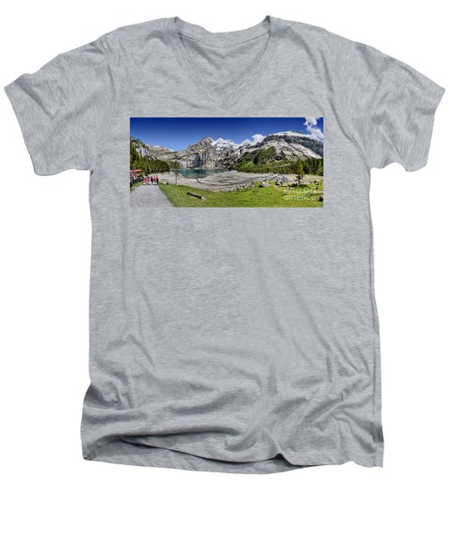 Men's V-Neck T-Shirt featuring the photograph Oeschinen Lake by Carsten Reisinger