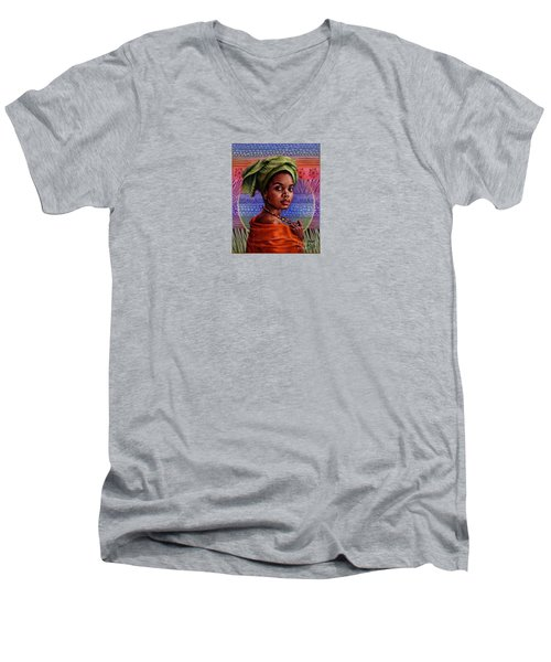 Men's V-Neck T-Shirt featuring the painting Of Earth And Sky by Jane Bucci