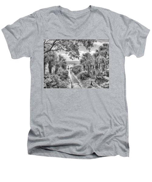 Men's V-Neck T-Shirt featuring the photograph Off To The Beach by Howard Salmon