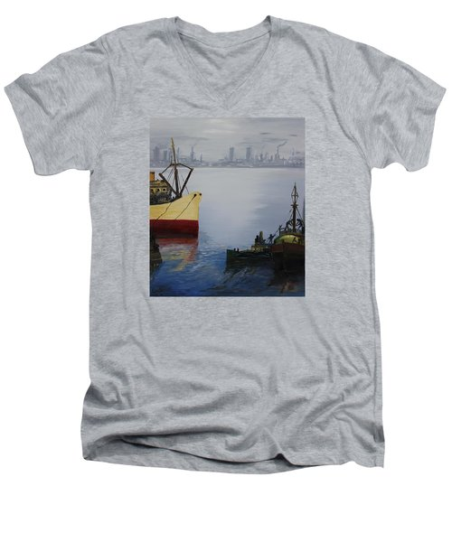 Oil Msc 025  Men's V-Neck T-Shirt
