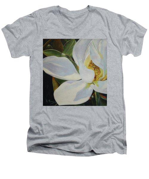 Oil Painting - Sydney's Magnolia Men's V-Neck T-Shirt