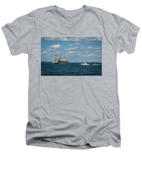 Men's V-Neck T-Shirt featuring the photograph Oil Tanker And Lobster Boat by Jane Luxton