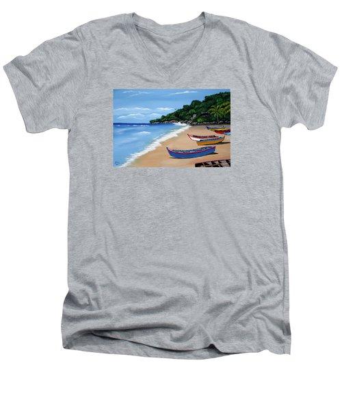 Olas De Crashboat Men's V-Neck T-Shirt by Luis F Rodriguez