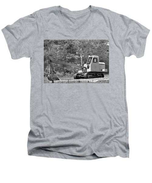 Old Backhoe Men's V-Neck T-Shirt by Tara Potts