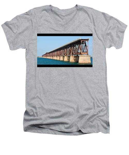 Old Bahia Honda Bridge 2 Men's V-Neck T-Shirt