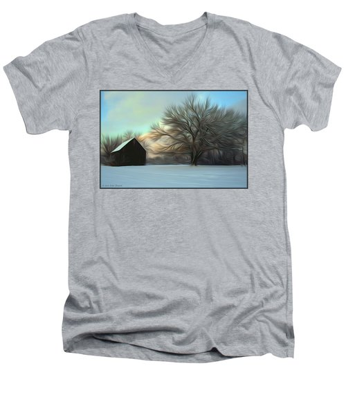 Old Barn In Snow Men's V-Neck T-Shirt