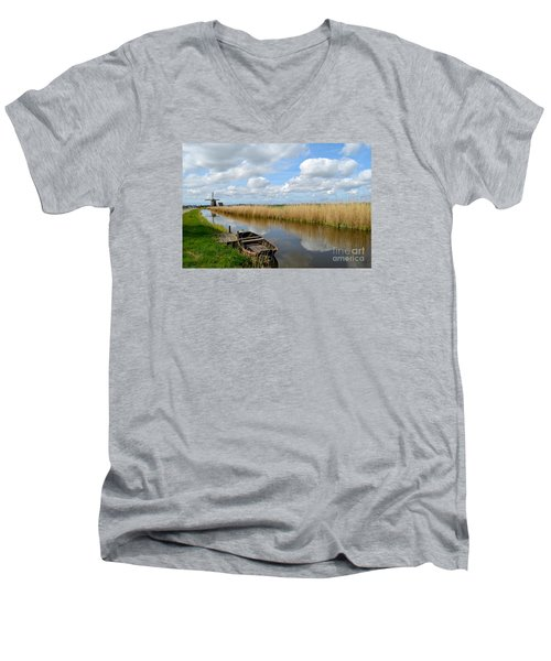 Old Boat In A Canal In Holland Men's V-Neck T-Shirt by IPics Photography