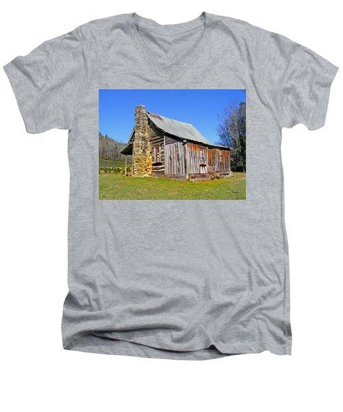 Old Cabin Along Macedonia Church Road Men's V-Neck T-Shirt