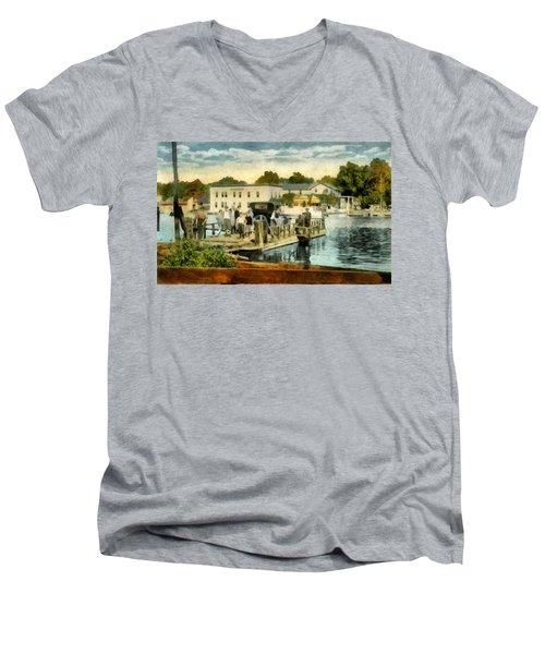 Old Chain Ferry Saugatuck Michigan Men's V-Neck T-Shirt