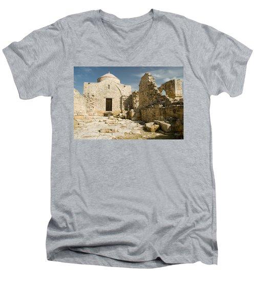 Old Church Anogyra  Men's V-Neck T-Shirt by Jeremy Voisey