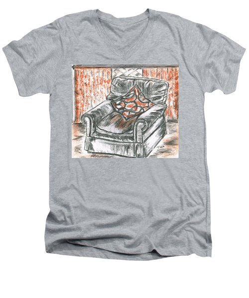 Men's V-Neck T-Shirt featuring the drawing Old Cozy Chair by Teresa White
