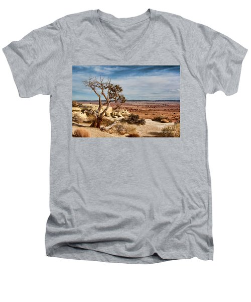 Men's V-Neck T-Shirt featuring the photograph Old Desert Cypress Struggles To Survive by Michael Flood