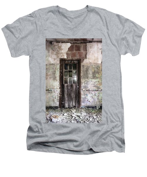 Men's V-Neck T-Shirt featuring the photograph Old Door - Abandoned Building - Tea by Gary Heller