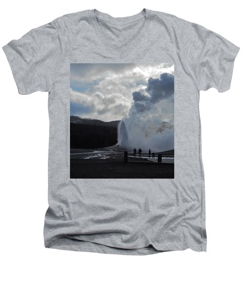 Old Faithful Morning Men's V-Neck T-Shirt by Michele Myers