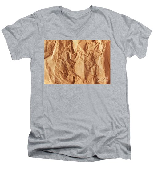 Old Grunge Creased Paper Texture. Retro Vintage Background Men's V-Neck T-Shirt by Michal Bednarek