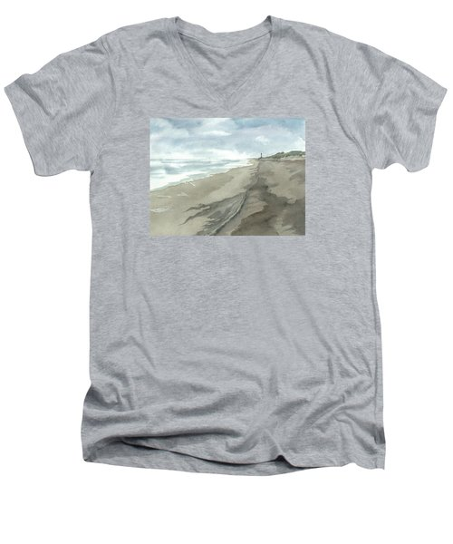 Men's V-Neck T-Shirt featuring the painting Old Hatteras Light by Joel Deutsch