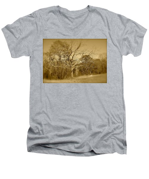 Old Haunted Tree In Sepia Men's V-Neck T-Shirt by Amazing Photographs AKA Christian Wilson