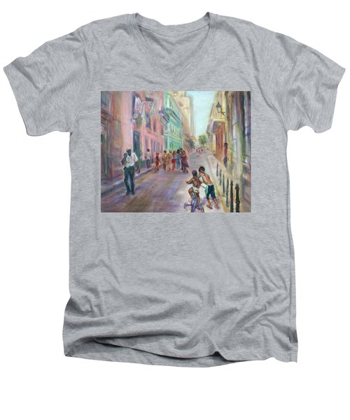 Old Havana Street Life - Sale - Large Scenic Cityscape Painting Men's V-Neck T-Shirt