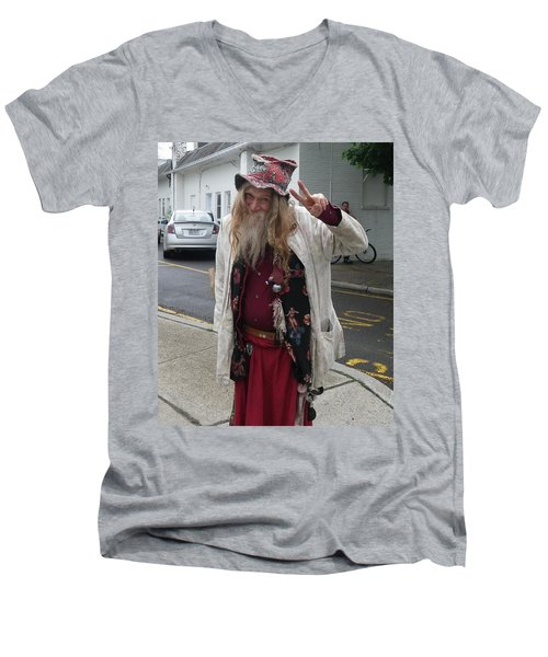 Men's V-Neck T-Shirt featuring the photograph Old Hippie In Woodstock Ny  by Anna Ruzsan