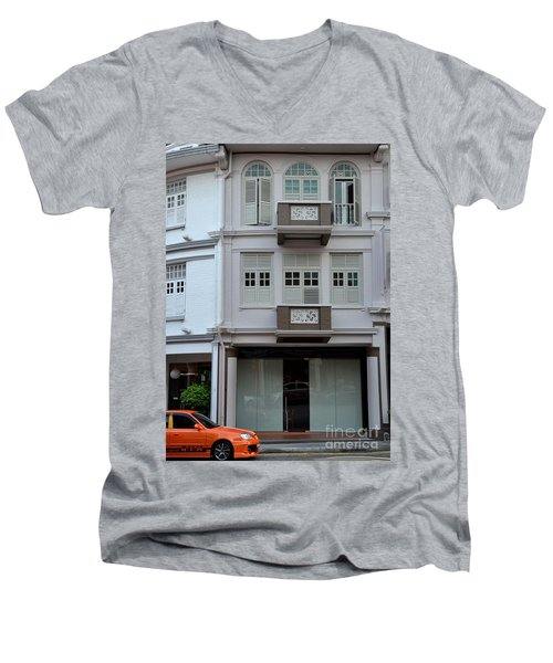 Men's V-Neck T-Shirt featuring the photograph Old House And Funky Orange Car by Imran Ahmed
