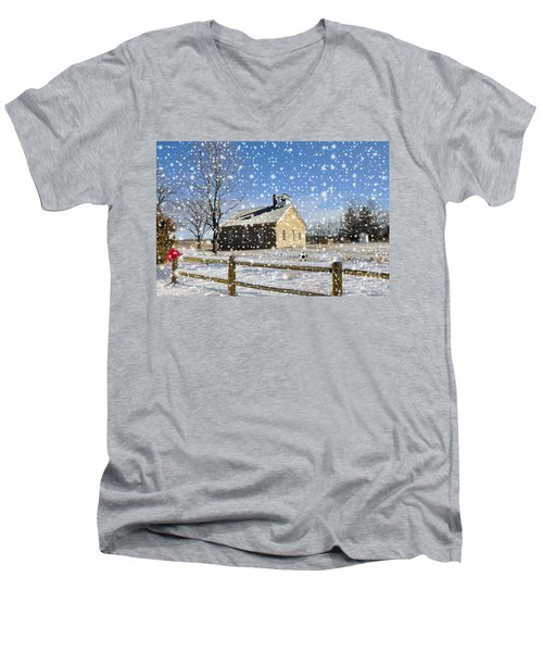 Men's V-Neck T-Shirt featuring the photograph Old Kansas Schoolhouse by Liane Wright