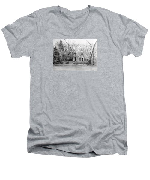 Old Library On Lake Afton - Winter Men's V-Neck T-Shirt by Loretta Luglio